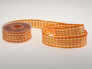 Vichykaro mit Herz Orange 40 mm mit Draht