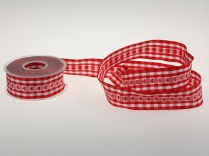 Vichykaro mit Herz Rot 40 mm mit Draht