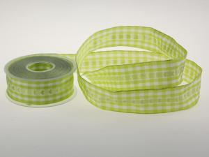 Vichykaro mit Herz Mintgrün 40 mm mit Draht