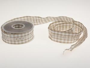 Vichykaro mit Herz Braun 40 mm mit Draht