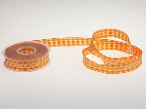 Vichykaro mit Herz Orange 25 mm mit Draht