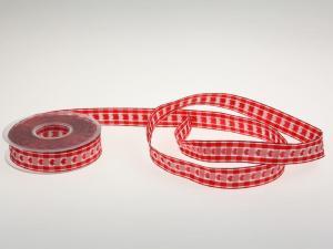 Vichykaro mit Herz Rot 25 mm mit Draht
