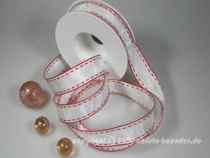 Streifenband Red Lines Weiß mit Draht 25mm