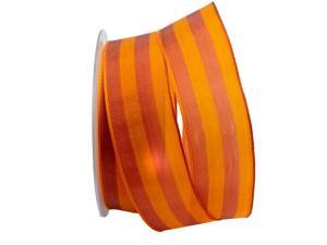 Streifenband Bicolore orange / bordeaux 40mm mit Draht