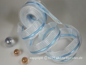 Streifenband Lanzerote Hellblau mit Draht 40mm