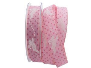 Motivband springender Hase rosa 25mm mit Angelschnur