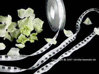 Karoband Manhattan-Organza Weiß mit Draht 15mm