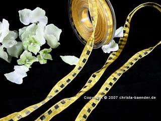Karoband Manhattan-Organza Gelb mit Draht 15mm