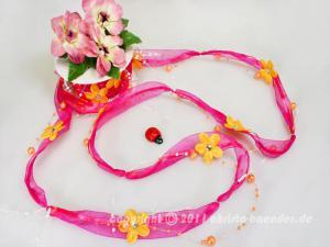 Organzagirlande Flower Pearls Pink ohne Draht 20mm - Schleifenband günstig online kaufen!
