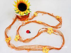 Organzagirlande Flower Pearls Dunkelorange ohne Draht 20mm