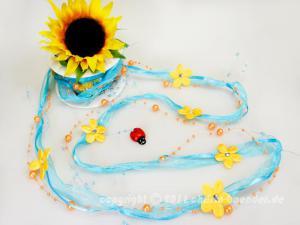 Organzagirlande Flower Pearls Türkis ohne Draht 20mm - Schleifenband günstig online kaufen!