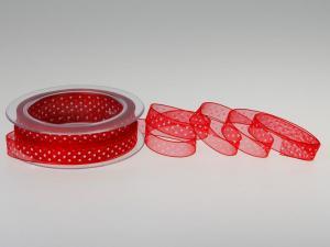 Organzaband Pünktchen Rot ohne Draht 10mm - Schleifenband günstig online kaufen!