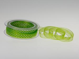 Organzaband Pünktchen Hellgrün ohne Draht 10mm