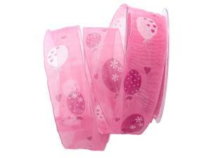 Motivband Luftballon rosa 40mm mit Draht