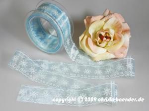 Motivband White Flowers Hellblau ohne Draht 40mm
