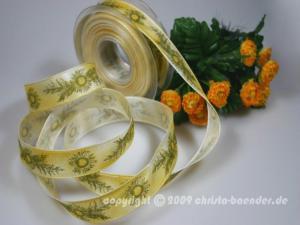 Motivband Distel Gelb mit Draht 25mm
