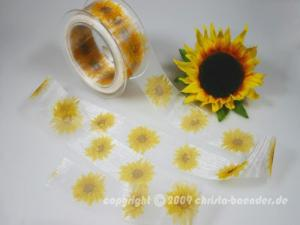 Motivband Sonnenblume Weiß ohne Draht 40mm