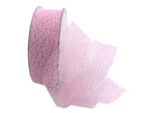 Gitterband Floral rosa 40mm ohne Draht