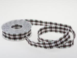 Dekoband Schottenkaro 25mm weiß schwarz mit Draht