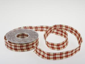 Dekoband Schottenkaro 25mm Creme mit Draht - im Bänder Großhandel günstig kaufen!