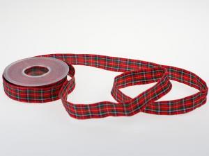 Dekoband Schottenkaro 25mm rot mit Draht