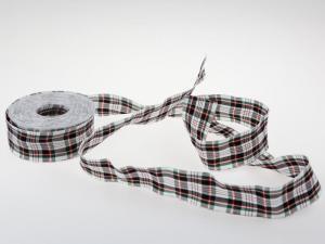 Dekoband Schottenkaro 40mm weiß mit Draht