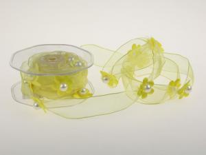 Motivband Blumengirlande Gelb mit Draht 25mm - Schleifenband günstig online kaufen!