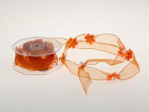 Motivband Blumengirlande Orange mit Draht 25mm - Schleifenband günstig online kaufen!
