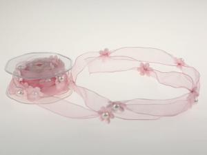 Motivband Blumengirlande Rosa mit Draht 25mm - Schleifenband günstig online kaufen!