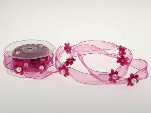 Motivband Blumengirlande Pink mit Draht 25mm - Schleifenband günstig online kaufen!