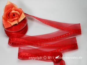Organzaband Little Hearts Rot ohne Draht 40mm - im Bänder Großhandel günstig kaufen!