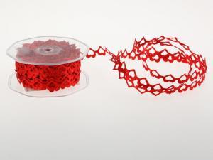 """Herzband """"Herz an Herz"""" rot ohne Draht 15mm - im Bänder Großhandel günstig kaufen!"""