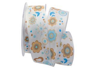 Dekoband Blumenmeer blau 40mm mit Draht