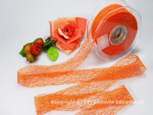 Gitterband Floral Orange ohne Draht 40mm - Geschenkband günstig online kaufen!