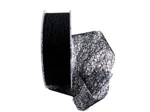 Gitterband Floral schwarz 40mm ohne Draht