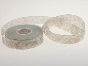 Motivband Schmetterling 25mm creme mit Draht - Schleifenband günstig online kaufen!