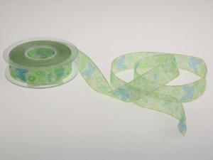 Motivband Schmetterling 25mm hellgrün mit Draht - Dekoband günstig online kaufen!