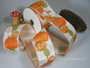 Motivband Kürbis Orange mit Draht 60mm