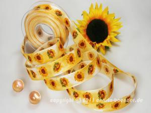 Motivband Sonnenblume Gelb mit Draht 25mm