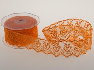 Dekoband Spitze Orange ohne Draht 40mm - Geschenkband günstig online kaufen!