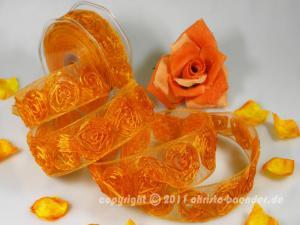 Organzaband Magic Rose Orange mit Draht 40mm