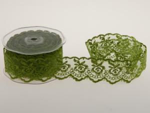 Dekoband Spitze grün ohne Draht 40mm