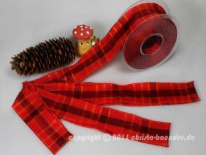 Karoband Herbstkaro Rot mit Draht 40mm - Geschenkband günstig online kaufen!