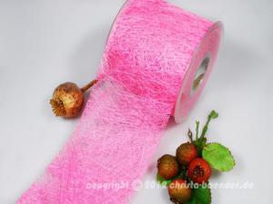 Tischband Sisal Pink ohne Draht 100mm