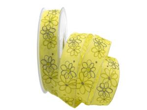 Motivband moderne Blume gelb 25mm mit Draht