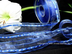 Organzaband Durchbrochenes Organza Blau mit Draht 40mm