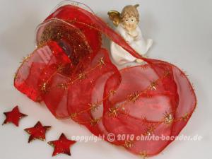Weihnachtsband Lamettatraum Rot mit Draht 50mm