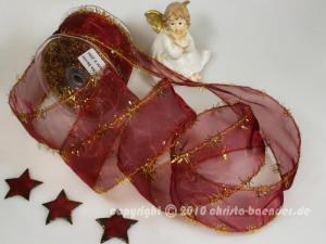 Weihnachtsband Lamettatraum Bordeaux mit Draht 50mm