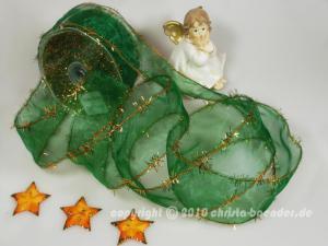 Weihnachtsband Lamettatraum Grün mit Draht 50mm