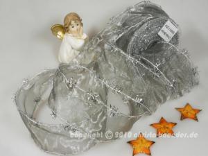 Weihnachtsband Lamettatraum Silbergrau mit Draht 50mm